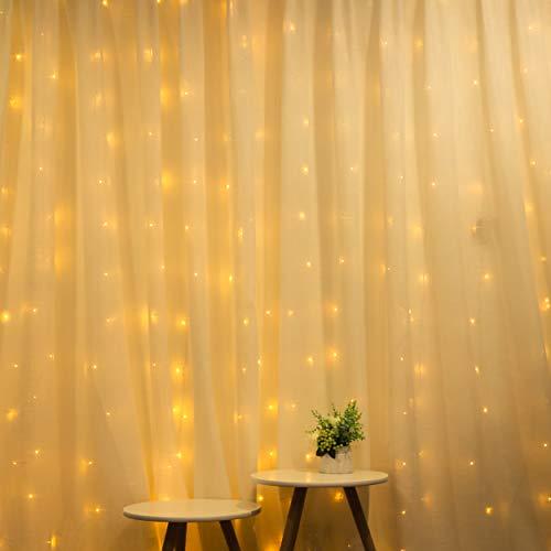 LED Lichtervorhang, mit Stecker, 3x3m, 19 Vertikale Klare Lichterkette, Lichterkette Wasserfall für Wand, Zimmer, Balkon, Warmweiß, für Innen und Außen, Erweiterbar