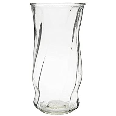 Royal Imports Flower Rose Bunch Glass Vase Decorative Centerpiece For Home or Wedding (Fits Dozen Roses) - Optic-Swirl Style - 9.5  Tall, 4.5  Opening, Clear