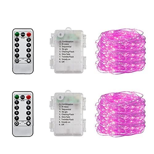 LED Fairy Light Waterdicht 5m 50 LED's Cooper Draad String Lamp Decor (geen batterij) 2pcs Pink String Light