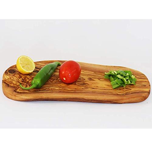 Tabla de madera de olivo, madera de olivo, tabla de cortar, tabla de desayuno, bistec, madera natural de olivo, rústica (33-37 cm)