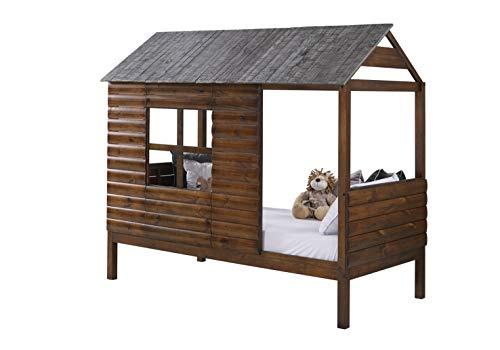 DONCO Twin Log Cabin LOW LOFT, Rustic Walnut