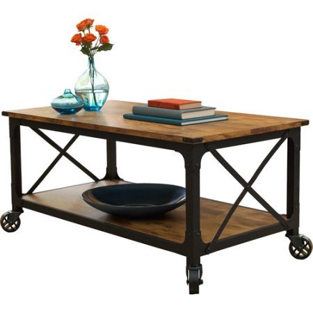 Better Homes and Gardens Antiqued Black Rustic Country Coffee Table Living Room Furniture Pine Finish