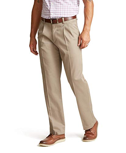 Dockers Men's Relaxed Fit Signature Khaki Lux Cotton Stretch Pants - Pleated D4, Timber Wolf, 42 30