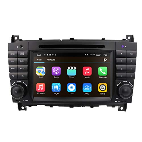 hizpo Android 8.1 Auto Audio Stereo für Mercedes Benz W203 W209 1024 * 600 Touch DVD Player Double DIN Head Unit Support GPS Navi, DAB+, BT, RDS Radio, Mirror Link, SWC, 4G WiFi, CAM-IN, OBD2, DVR