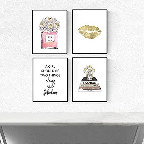 Ivpss Fashion Gold Lips Flor Pink Perfume Libro De La Pared Arte De La Pared Pintura De La Lona Pósteres Y Estampados Imágenes De Pared Para Sala De Estar Decoración De La Casa 60x90cm NoFramed