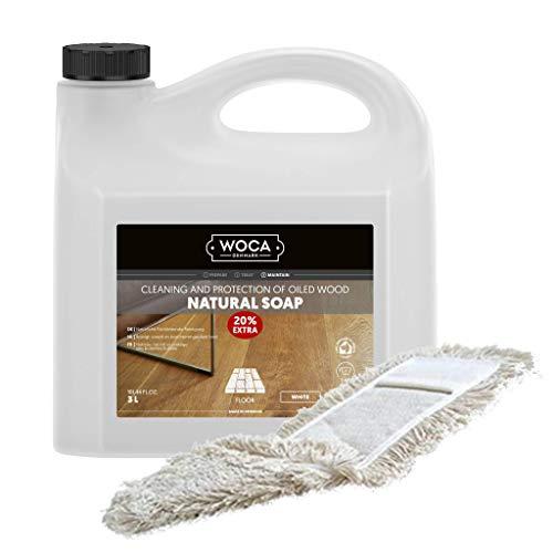 Woca Holzbodenseife (Weiß) 3 Liter - Sparpaket - inkl. Wischmopp