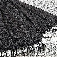 NOVICA Grey Acrylic Throw Blanket 'Grey Dove'