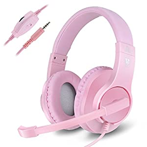 Kriogor Headset for Girls, 3.5mm Gaming Headset PC Headphone with Mic compatible for PlayStation 4 Xbox one Laptop Computer (Pink)