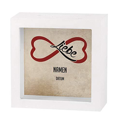 Herz & Heim® Bedruckte Bilderrahmen Spardose als Geldgeschenk zur Hochzeit - individuell für Sie erstellt mit Namen des Paares und Datum