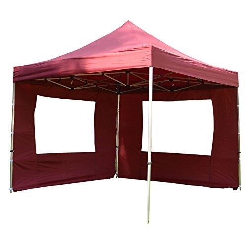 Nexos Profi Faltpavillon Partyzelt Pavillon 3x3 m mit 2 Seitenteilen - hochwertige Ausführung - wasserdichtes Dach mit PVC-Coating - 270 g/m² incl. Tragetasche und Zubehör – Farbe: Burgund