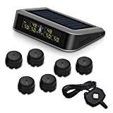 Easesuper Solar Tire Pressure Monitoring System for RV Trailer with 6 External TPMS Sensor and A Repeater, Real-time Displays Pressure (0~199PSI/0~13.7BAR) and Temperature (-40~+85℃/-104~+185℉)