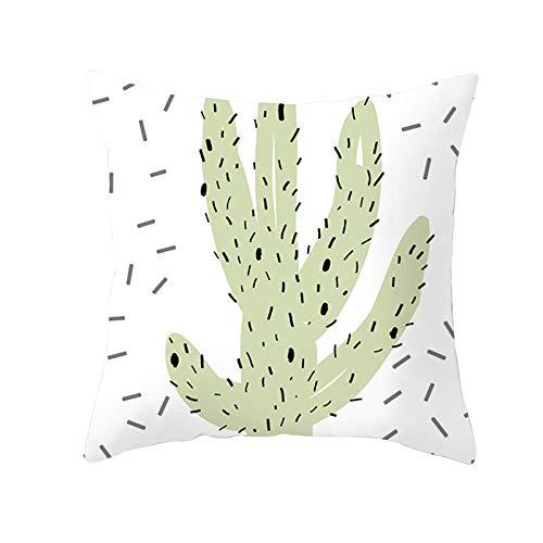 HJKGS XFundas de cojín de Lino, 4 Pack Fundas de Cojines Lino Duradero Decorativa Hogar Almohadas Funda de Almohada para Cojín para Sala de Estar Sofás Camas Sillas Cactus abstracto45x45 cm