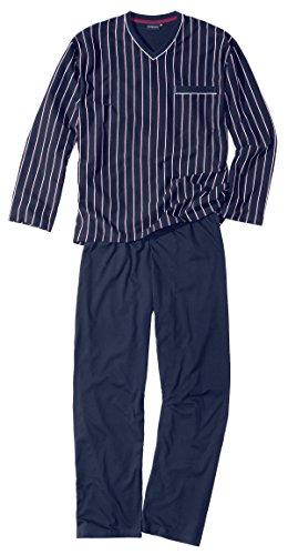 Götzburg Herren Pyjama, V-Ausschn, offen Zweiteiliger Schlafanzug, Blau (Navy 7013), Small (Herstellergröße: 48)