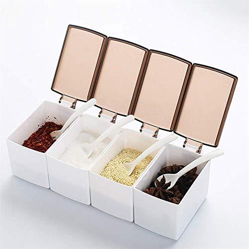 Condiment Storage Rack Opbergdoos met deksels, 4 sets plastic lepels 4 aparte handgrepen, gemakkelijk te gebruiken en schoon, stofdicht, geschikt voor restaurant