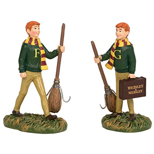 Department 56 Harry Potter Village Accessories Fred and George Weasley Figurine Set, 3.1 Inch, Multicolor