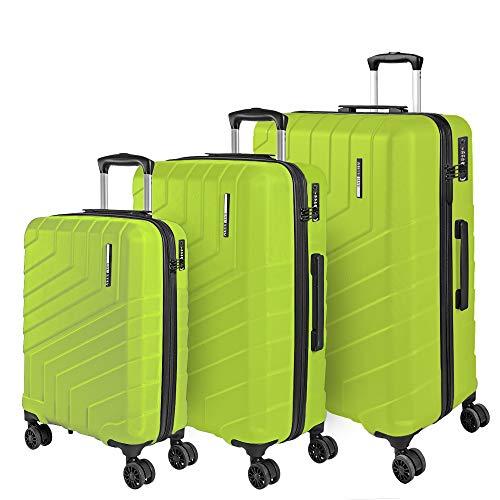Hartschale 3 Koffer Set mit Handgepäck und Aufgegebenem Gepäck - Ultra Leicht und Robust ABS Kofferset Trolley mit Alu Griff - TSA Schloss und 4 Doppelrollen - Perletti Travel (Lindgrün Lime, S+M+L)