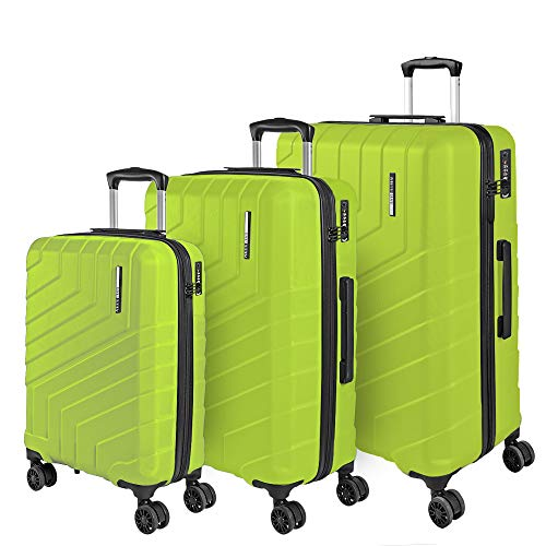 3 Piece Set Travel Luggage - Super Lightweight ABS Hard Shell Carry On - Cabin Trolley Suitcase and Hold Baggage with Telescopic Handle - TSA Lock and 4 Double Wheels - Perletti Travel (S+M+L, Green)