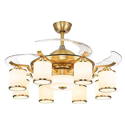 CCZUIML Ventilador de Techo, luz, Dormitorio de Oficina Retro Chino, Sala de Estar, Restaurante, lámpara de Ventilador de Metal, luz de Techo con atenuación LED