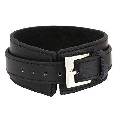 LGJJJ Punk Armband Leder Manschette Armband Persönlichkeit Armband Männer und Frauen verstellbares Armband Rock Armband Schmuck,Schwarz