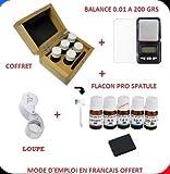 COFFRET TESTEUR OR 5 FLACONS PRO 9 14 18 24 CARATS K + ARGENT + PIERRE DE TOUCHE + BALANCE 0.01 A 200 GRS + LOUPE ECLAIRANTE X30 (NECESSAIRE DE TOUCHE TEST TESTER GOLD TESTING STONE)