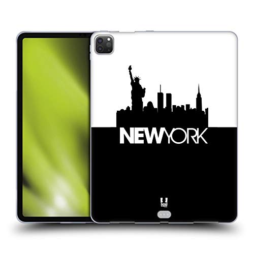 Head Case Designs New York Black And White Skyline S3 Soft Gel Case Compatible for Apple iPad Pro 12.9 (2020)