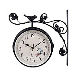 IMIKEYA Double Sided Wall Clock Metal Silent Wall Clock Art Clock Retro Station Clock Antique Hanging Clocks for Garden Home Living Room Wall Decoration No Battery (Black)