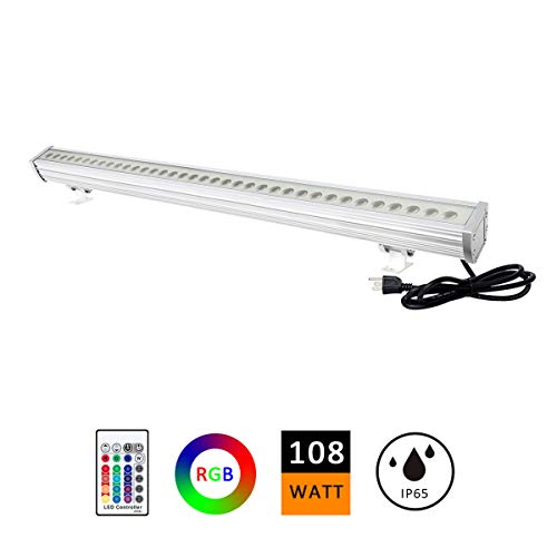 """ATCD 108W RGBW LED Wall Washer Light, Color Changing, 3.2ft/40"""" Linear Commercial Strip Light with RF Remote, 120V, Ideal for Outdoor/Indoor Lighting Projects, Building Decoration,Warehouse"""