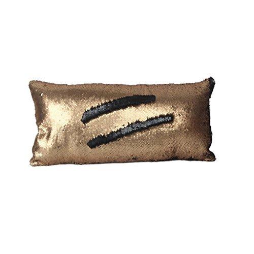Axige888 Fundas de almohada reversibles de 12 x 24 pulgadas de lentejuelas de sirena cambian de color de sirena funda de almohada (dorado y negro)