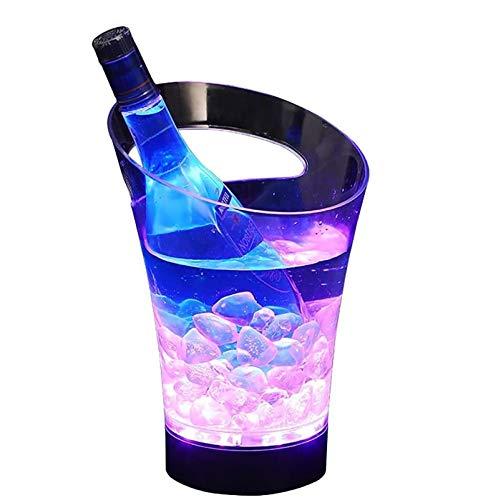 WJSWA LED de Carga de Barras portátil pequeño Cubo de Hielo 3l, Brillante acrílico del Cubo de Champán, Mate Recargable de Hielo de hidromasaje Mango for Partes Botella Cóctel (Color : Red Light)