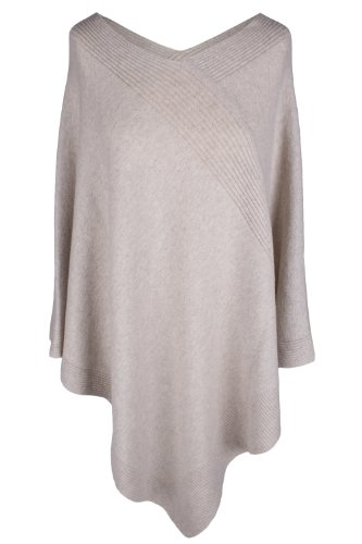Love Cashmere Women's 100% Cashmere Poncho - Light Natural - Made in Scotland RRP $600