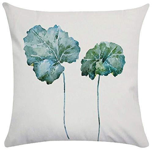 45 x 45 cm Acuarela planta flor almohada cubierta cuadrada cojines decorativos decoración del hogar sofá algodón almohada