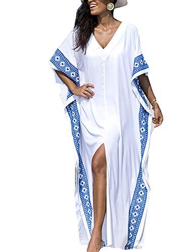 Bsubseach Mujer Talla Grande Kaftan Vestido Suelto Ropa de Baño Cuello en V Cubrir Bikini Camisola y Pareos