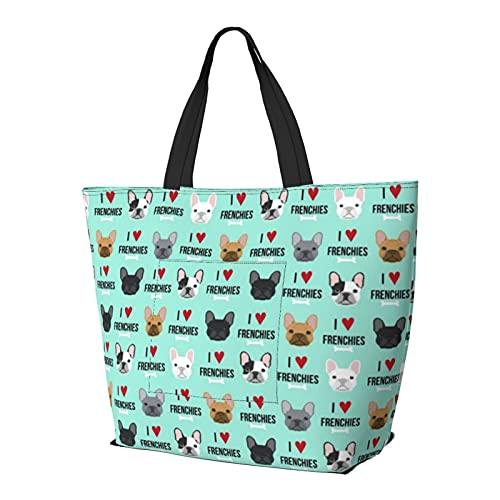Frenchie Dog I Love French Bulldogs Frenchie Face Aqua Bolsa de hombro multifuncional de gran capacidad, bolsa de trabajo, ligera, bolsa de viaje, bolsa de playa para mujer