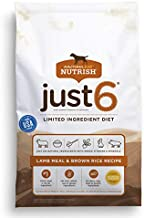 Rachael Ray Nutrish Just 6 Premium Natural Dry Dog Food, Limited Ingredient Diet Lamb Meal & Brown Rice Recipe, 28 Pounds