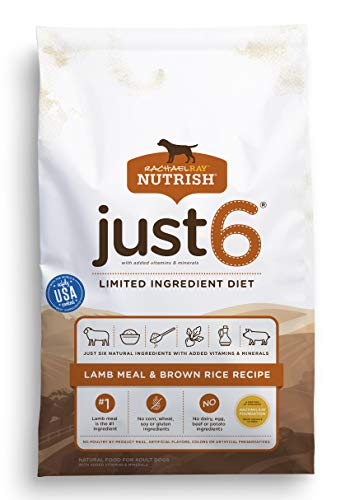 Rachael Ray Nutrish Just 6 Natural Premium Dry Dog Food, Limited Ingredient Diet Lamb Meal & Brown Rice Recipe, 28 Pounds