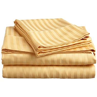 ITALIAN Prestige Collection 4PC QUEEN Striped Sheet Set, GOLD