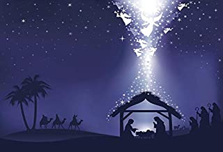 Leyiyi 10x8ft Photography Background Merry Christmas Backdrop Happy New Year Vintage Xmas Archangel Jesus Christ Nativity New Born Baptism Sant Marria Sheperd Stable Photo Portrait Vinyl Studio Prop
