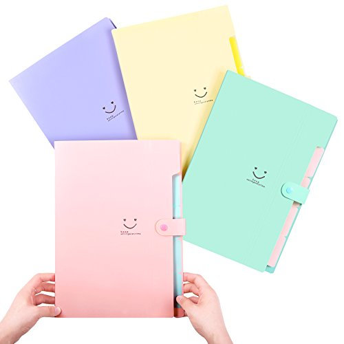 Phyxin Expanding File Folder Office Organizer Document Accordion Folder Clipboard Letter Size A4 with 5 Pockets Plastic Set of 4,Pink Blue Light Green Canary Yellow