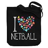 Teeburon I Love Netball Colorful Hearts Bolsa de Lona 10.5' x 16' x 4'