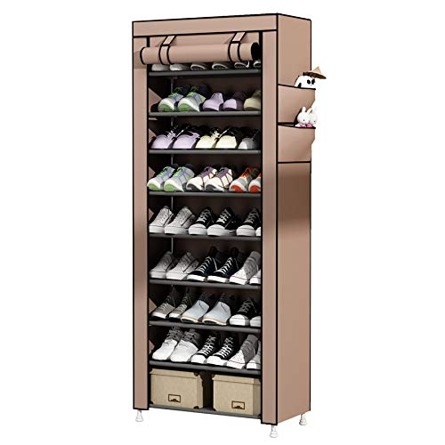 UDEAR 10-Tier Schuhschrank Schuhregal Storage Shoe Shelf for 27 Pairs of Shoes Braun
