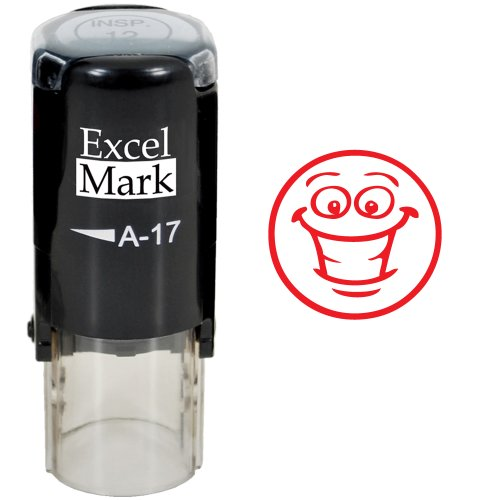Smiley Face - ExcelMark Self-Inking Round Teacher Stamp - Red Ink