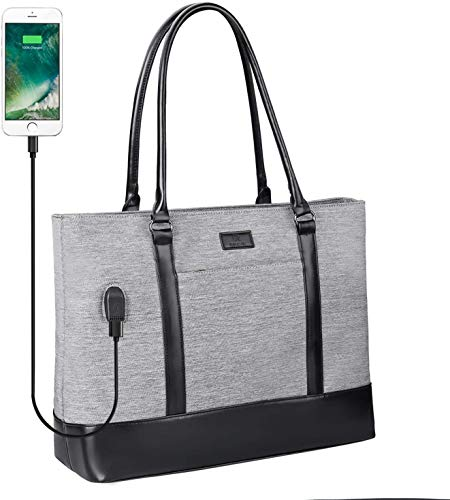 Woman Laptop Tote Bag,USB Teacher Bag Large Work Bag Purse Fits 15.6 in Laptop (Grey)