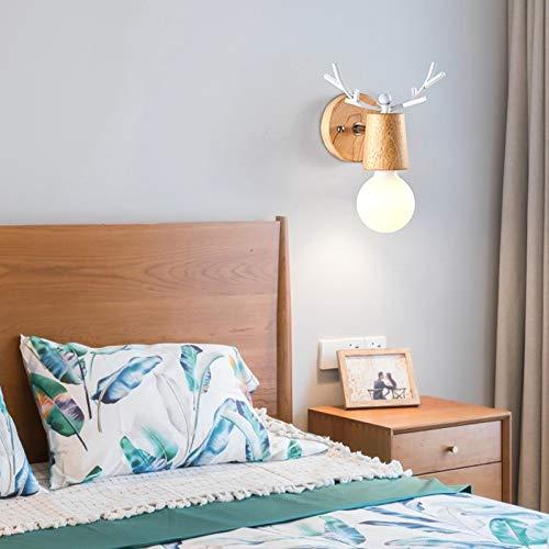 QEGY Lampara Pared Infantil Moderno LED, Lámpara de Pared Interior de Madera Astas Creativo, Luz de Pared Blanca Cálida para Sala de Estar Habitación de Niños, E27 Socket,Blanco