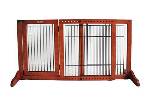 Simply Shield+ | Hunde-Barriere | Hunde-Absperrgitter | Verstellbare Breite mit Tür | Freistehend | in 3 Farben und 2 Größen erhältlich … (M, Braun)
