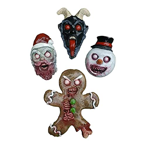 Zombie Garden Ornaments Figures - Nightmare Before Christmas Ornaments, Gingerbread Man Toy Horror Bloody Wall Hanging Doll Keychain Pendant Figure Model Gifts Toy 4PCS