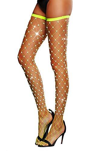 Women's Thigh High Stockings Rhinestone Fishnet Elastic Stockings Big Fish Net Tights Pantyhose (Yellow)