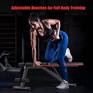 HITOSPORT Weight Bench, Adjustable Weight Bench, Strength Training Benches For Full Body Workout & Home Gym with Resistance Bands