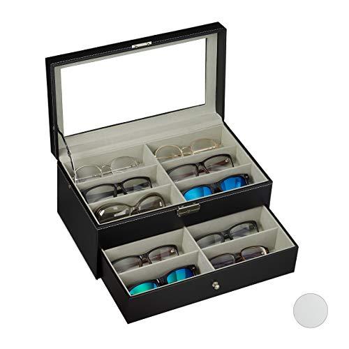 Relaxdays Caja Gafas con 12 Compartimentos, Organizador, 1 Ud, Cuero Sintético-Cristal, 15,5 x 33,5 x 19 cm, Negro