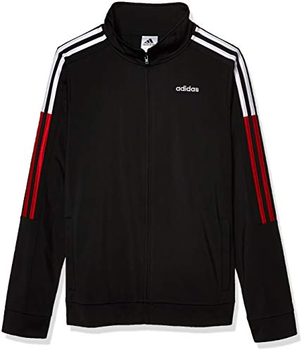 adidas Boys' Big Tricot Active Track Warm-Up Jacket, New Core Black, Medium