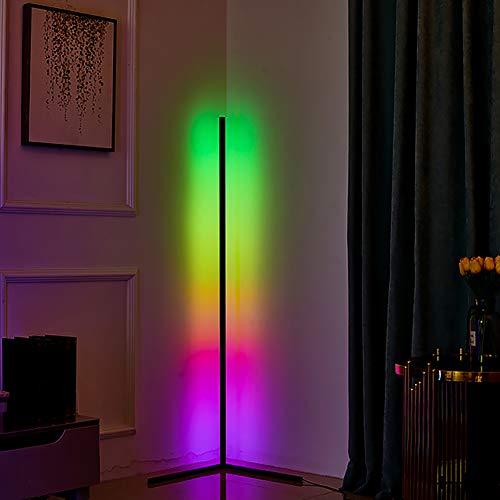 JAKROO RGB Eck-Stehleuchte, LED Dimmbare Stehlampe mit Fernbedienung, Moderner minimalistischer Stil, Ambient Ecklichter für Wohnzimmer, Schlafzimmer, Spielzimmer